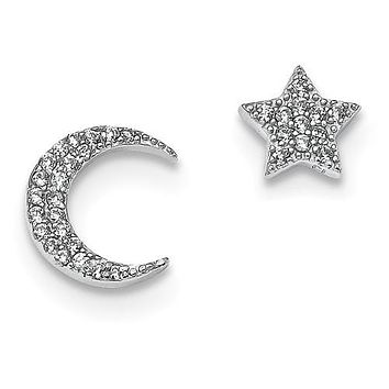 925 Sterling Silver Moon with Star CZ Post Earrings