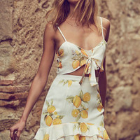 Summer Print Lemon Butterfly Spaghetti Strap Dress One Piece Dress [10715939791]