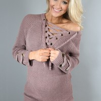 Purple Lace Up Sweater