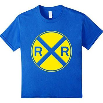 Kids Railroad Train Crossing Sign Kids Youth Child T Shirt