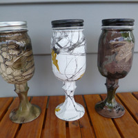 Mason jar redneck camo wine glass in hydrographics