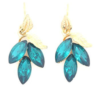 Leaf Green Crystal Drop Earrings Gold Tone Chandelier Studs EH16 Fashion Jewelry