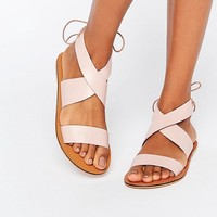 ASOS FRECKLES Leather Lace Up Flat Sandals at asos.com