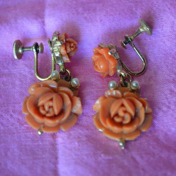 Vintage, Peach, Dangle, Rose, Screw Back Earrings, Japan.