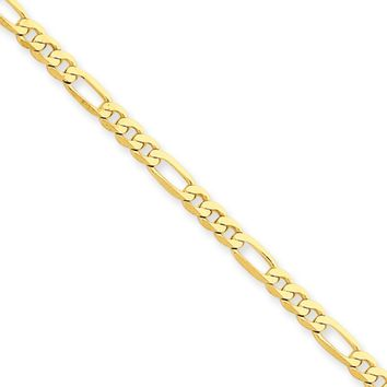 3.25mm, 14k Yellow Gold, Flat Figaro Chain Necklace, 18 Inch