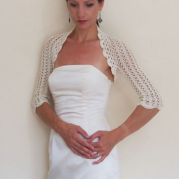 WEDDING lace SHRUG BRIDAL bolero crochet with 100% high quality cream cotton yarn