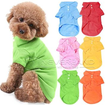 XS S M L XL Size Pet Dog Cat Puppy Cute Polo T-Shirts Suit Clothes Outfit Apparel Coats Tops Clothing Free Shipping