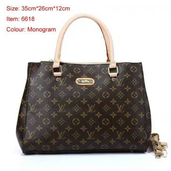 LV Women Shopping Leather Tote Handbag Shoulder Bag Coffee