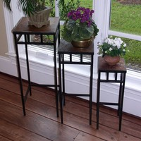 Slate 3-pc. Square Plant Stand Set - Outdoor (Brown)