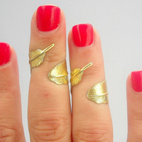 2 Golden Brass Feather Ring - Golden Feather Above the Knuckle Ring  -  Feather Above Knuckle Ring  -  Set of 2 by Tiny Box