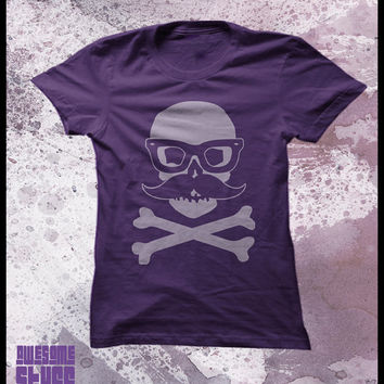 Skull tshirt women's Incognito skull with by purplecactusdesign