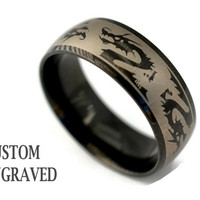 Engraved Black Dragon Ring - Personalized Steel Dragon Ring - Personalized Ring - Custom Engraved Steel Dragon Ring -