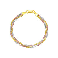 Tri-Color Sterling Silver Braided Style Bracelet