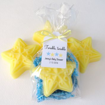 Yellow and Blue Star Soap Baby Shower Favors with Custom Tags, Set of 12