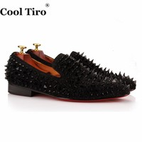 COOL TIRO New Handmade Black suede miscellaneous nail Spike Red bottom Luxury