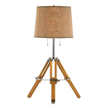Trans Globe Lighting RTL-8785 Wood and Polished Chrome Vintage 2 Light Tripod Table Lamp - Set of 2 with Brown Burlap