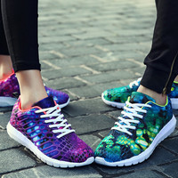 Fashion  Chameleon Reflective Sneakers Sport Shoes Purpel Green