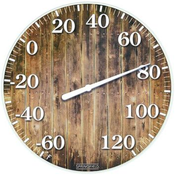 "Springfield Precision 10"" Tempered Glass Dial Thermometer (barn Wood)"