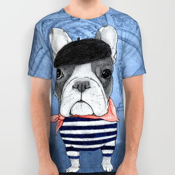 Frenchie with Arc de Triomphe All Over Print Shirt by Barruf