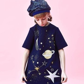 Mimisol - Baby Girl Galaxy Universe Dress, Navy