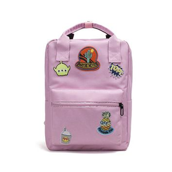 Student Backpack Children Women Appliques Canvas Student Backpack Preppy Style Embroidery School Bag Badge Female Backpacks Girls Mochilas AT_49_3