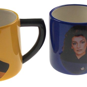 Star Trek TNG Set of 2 16 Oz Coffee Mugs Geordi La Forge Deanna Troi Ceramic Cup