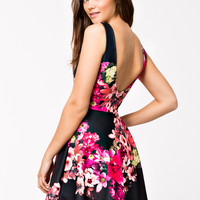 Black Floral Open-Back Skater Dress