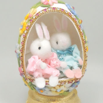 Boy and Girl Baby Bunnies with Music Box plays Easter Parade Baby Shower Gift IDea Home Decor Faberge Style Decorated Goose Egg Art Ornament