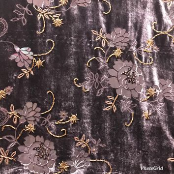 "Designer Burnout Silk Rayon Velvet Plum Floral With Beading Detail- 45"" Wide"
