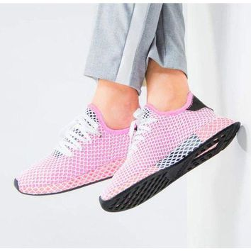 Gotopfashion Adidas Deerupt Running Shoes Runner Trifolium Mesh Sneakers B-CSXY Pink Surface With Black Tail