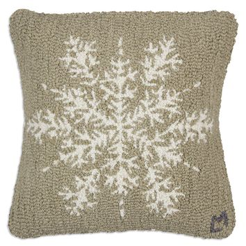 "Khaki Flake 18"" Hooked Wool Pillow"