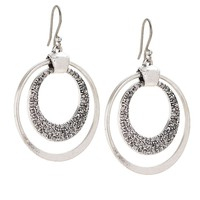 Lucky Brand Pave Double Hoop Womens - Silver (One Size)
