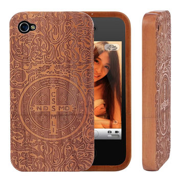 100% Natrual Bamboo Wooden Phone Case for iPhone 4 4s 5 5s SE 6 6S 6S Plus