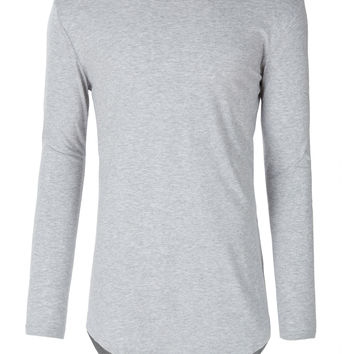 LE3NO Men Hipster Crewneck Long Sleeve Longline T Shirt with Zipper