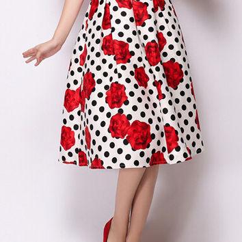 White Polka Dot Rose Print A-Line Midi Skirt