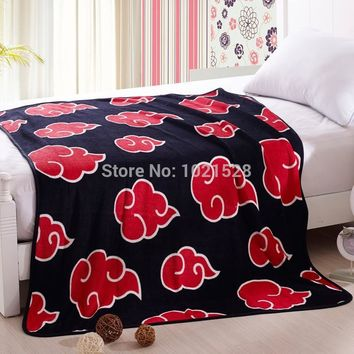 Naruto Sasauke ninja 150X120/150x200cm   Black Red cloud coral fleece throw blanket on the bed microfiber blanket cover bedsheet quilt cosplay AT_81_8