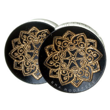 Gold Lotus Ebony Wood Plugs  (8mm-20mm)