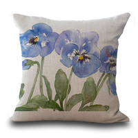 Chinese Ink Flowers Pillow Cases