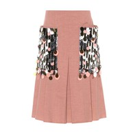 Embellished silk and cotton skirt