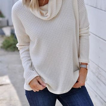 New White Patchwork High Neck Casual Knit T-Shirt