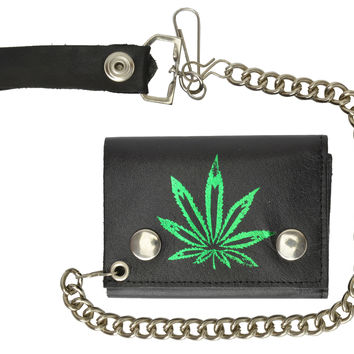 Marijuana Leaf Imprint Genuine Leather Biker Trifold Wallet 946-9 (C)