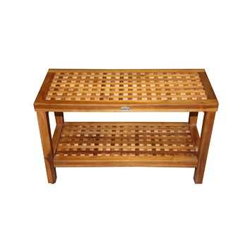 Ala Teak Wood Patio Garden Indoor Outdoor Yard Coffee Side Table Waterproof Bath Spa Shower Shelf Storage Easy Assemble