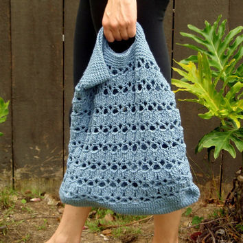 French String Market Bag in Denim Blue by ILiveByTheSea on Etsy