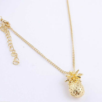 2015 Gold Sparkling Chains Pineapple Necklace Pendant Metal Hipster Jewelry For Women Men