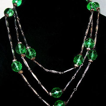 "Czech Green Glass Beaded Necklace Silver Bar Links Flapper 30"" L Vintage Art Deco"