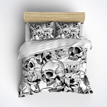 Fleece Skull Bedding - Black & White Skull Duvet with Large Flower Print - Skull Bed Linen, Skull Bedding Set, Skull Comforter Cover