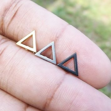 Sale.....Hollow triangle 316L Surgical Steel 16g, 16 gauge Helix, tragus, conch cartilage earring