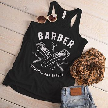 Women's Barber Flowy Tank Haircuts & Shaves Vintage Razor Clippers Tanks For Hipster Barbers Racerback