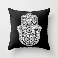 Hamsa Black & White Hand Eye Indian Buddha Ganesh Throw Pillow by CPT HOME