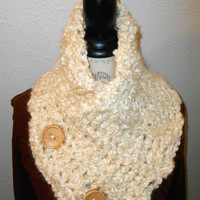 Cowl Neckwarmer Scarf with Buttons Crochet Cream Winter White